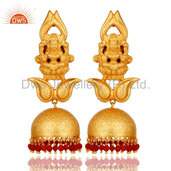 18k Gold Plated Traditional Jhumka Earrings with 925 Sterling Silverl and Coral