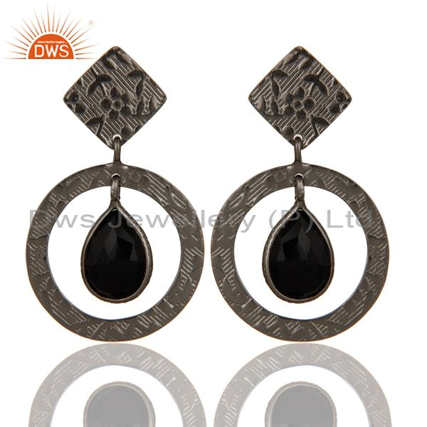 Handmade Textured Sterling Silver Earrings with Black Oxidized & Black Onyx