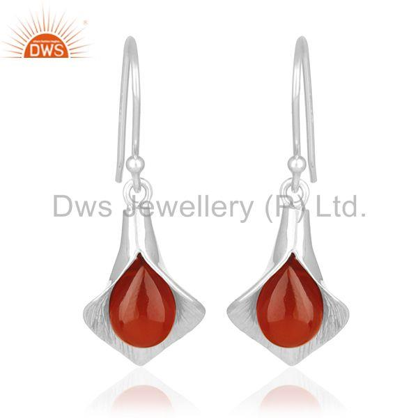 Floral Design Sterling 92.5 Silver Carnlian Gemstone Earring Wholesale Suppliers
