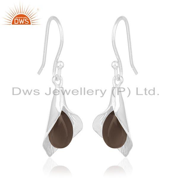 Handcrafted Sterling Silver Floral Design Smoky Gemstone Girls Earring Wholesale