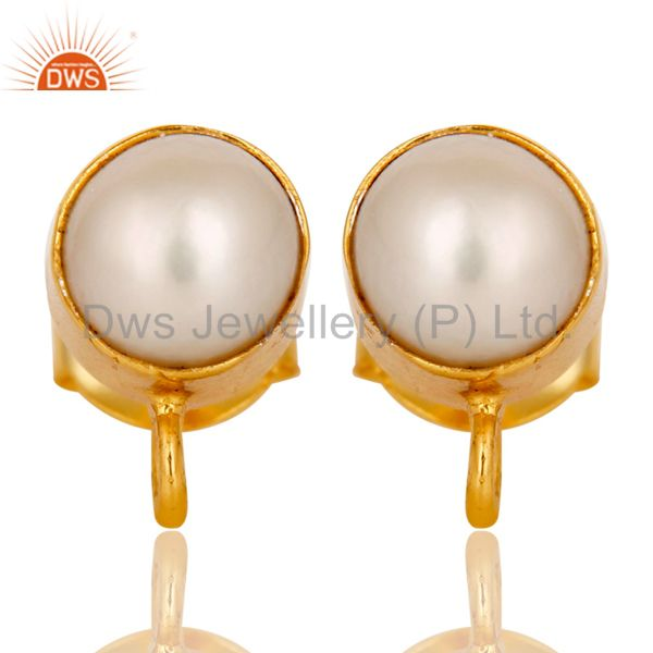 Handmade Traditional Pearl Stud Earrings with 18k Gold Plated Sterling Silver