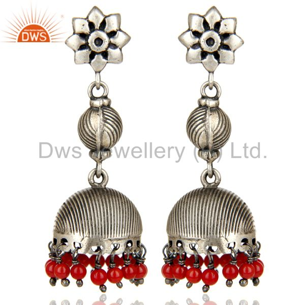 Black Oxidized 925 Sterling Silver Handmade Red Coral Jhumka Earrings Jewelry