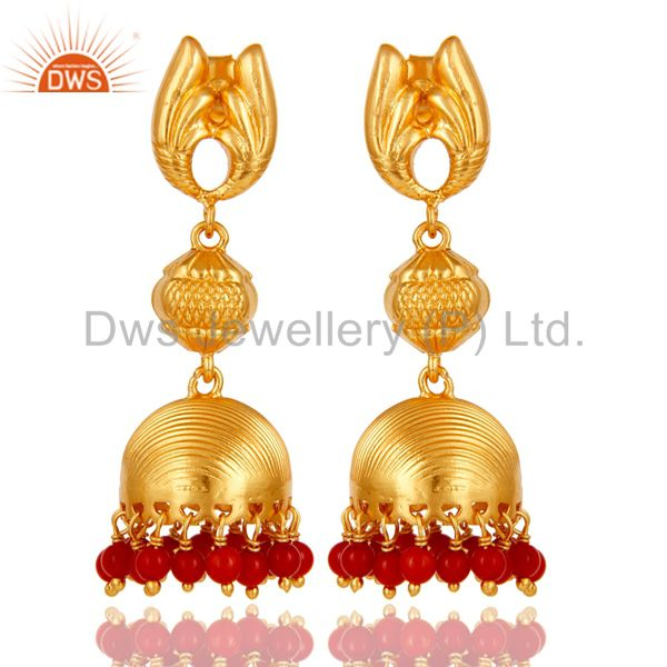18k Gold Plated Sterling Silver Traditional Jhumka Earrings With Coral
