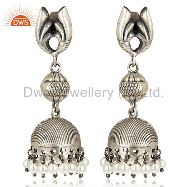 Stunning Oxidized 925 Sterling Silver Traditional Jhumka Earrings Gift Jewelry
