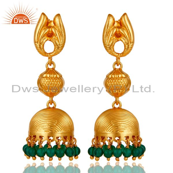 18k Gold Plated Sterling Silver Traditional Design Jhumka Green Onyx Earrings