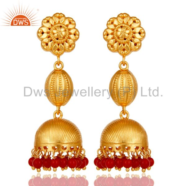 18k Gold Plated 925 Sterling Silver Traditional Design Jhumka Red Coral Earrings