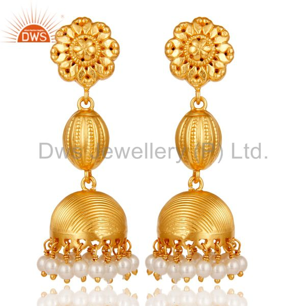 18k Gold Plated 925 Sterling Silver Traditional Design Pearl Bead Jhumka Earring