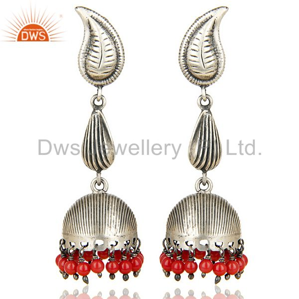 Oxidized 925 Sterling Silver Handmade Red Coral Jhumka Earring Gift Jewelry
