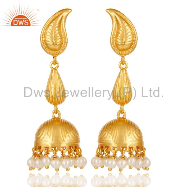 18k Gold Plated Sterling Silver Traditional Jhumka Earrings with Pearl Bead