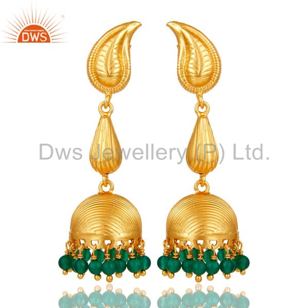 18k Gold Plated 925 Sterling Silver Handmade Jhumka Earrings with Green Onyx