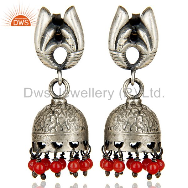 Black Oxidized 925 Sterling Silver Traditional Handmade Red Coral Jhumka Earring