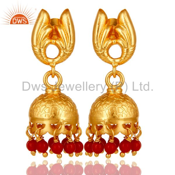 18k Gold Plated Sterling Silver Handmade Jhumka Earrings with Red Coral