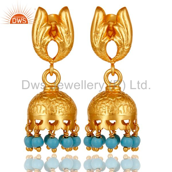 18k Gold Plated 925 Sterling Silver Handmade Jhumka Earrings with Turquoise