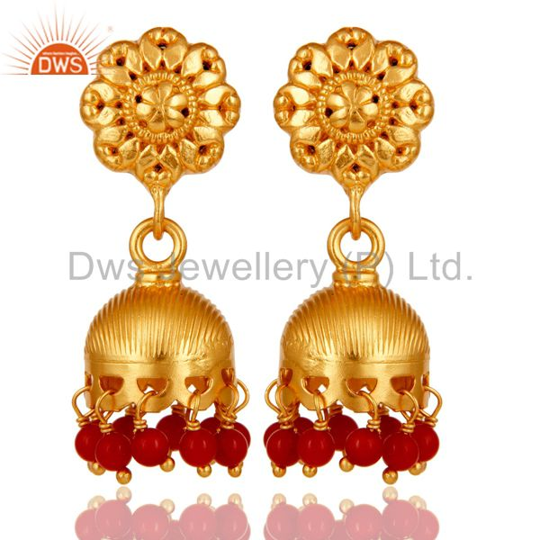 18k Gold Plated 925 Sterling Silver Handmade Jhumka Earrings with Red Coral