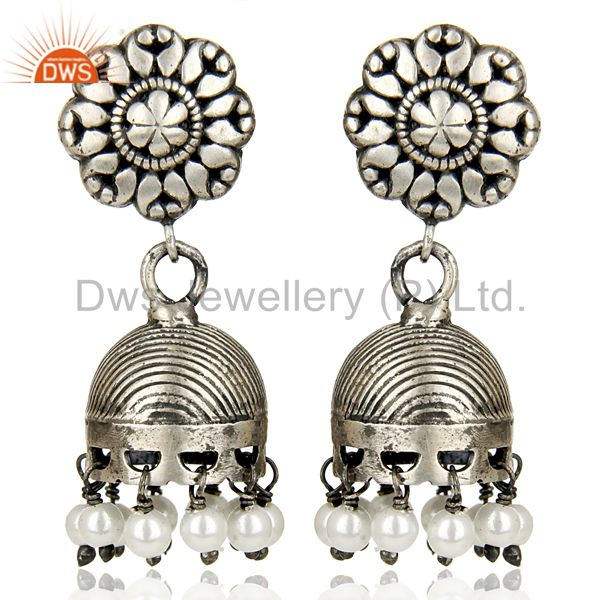Black Oxidized 925 Sterling Silver Traditional Pearl Jhumka Earrings Jewelry