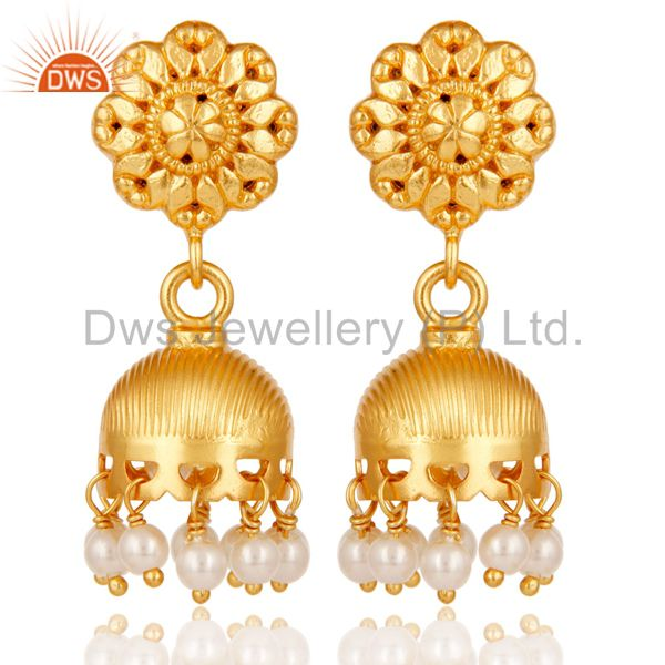 18k Yellow Gold Plated 925 Sterling Silver Handmade Pearl Beads Jhumka Earrings