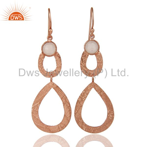 Natural Rose Chalcedony earring