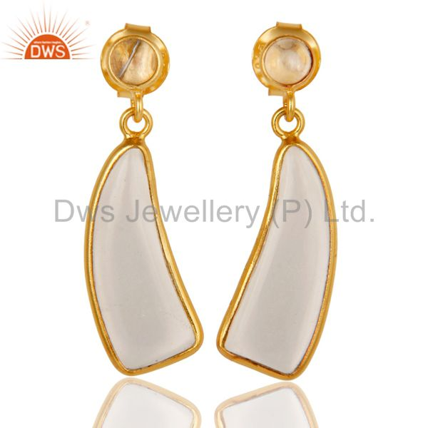 22K Yellow Gold Plated 925 Sterling Silver Handmade Crystal Quartz Drop Earrings