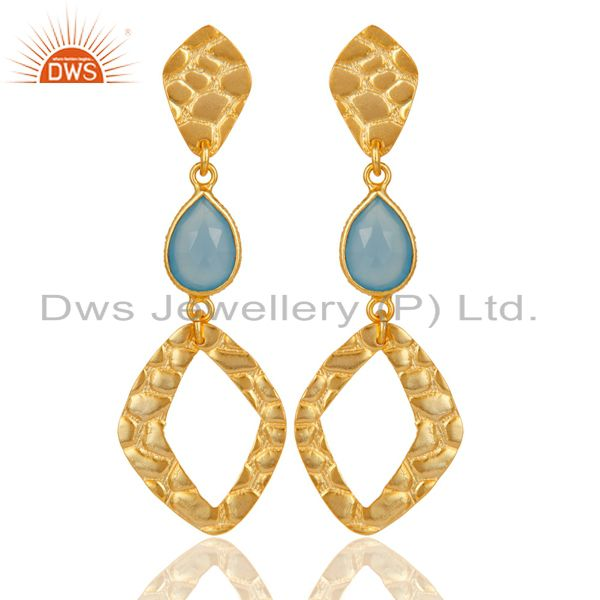 18K Gold Plated Sterling Silver Handmade Art Design Dyed Chalcedony Drop Earring