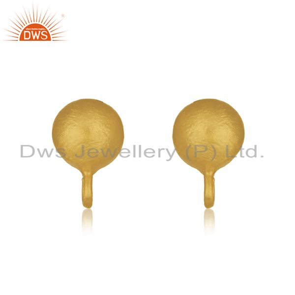 14K Yellow Gold Plated Traditional Handmade Little Finding Studs Brass Earrings