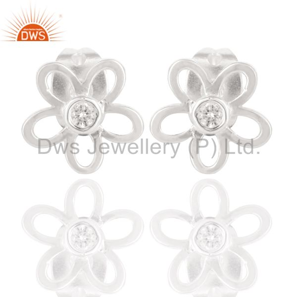 Solid 925 Sterling Silver Handmade Flower Design White Zirconia Studs Earrings