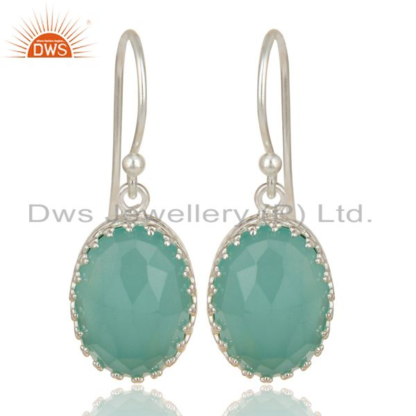 Handmade Solid 925 Sterling Silver Dyed Chalcedony Prong Set Drops Earrings