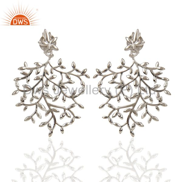 Olive Leaf Drop White Rhodium Plated 92.5 Sterling Silver Earring