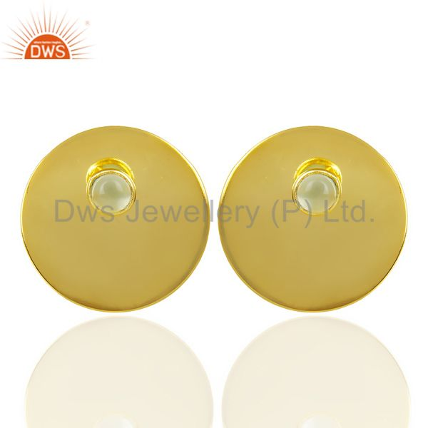 14K Gold Plated 925 Sterling Silver Round Design Aqua Chalcedony Studs Earrings
