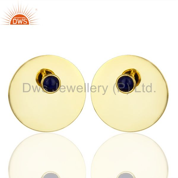 14K Gold Plated 925 Silver Round Design Lapis Lazuli Studs Earrings