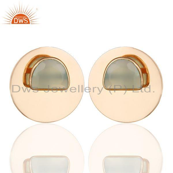 14K Rose Gold Plated 925 Silver Round Design Dyed Aqua Chalcedony Stud Earrings