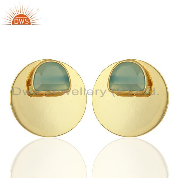 Gold Plated 925 Sterling Silver Blue Chalcedony Gemstone Stud Earrings