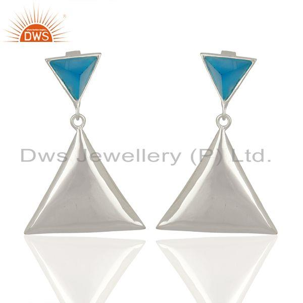 Blue Chalcedony Pyramid Triangle Sterling Silver Wholesale Drops Earrings