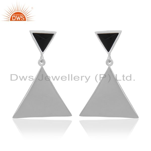 925 Sterling Silver Handmade Pyramid Design Black Onyx Drops Earrings