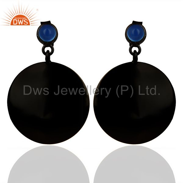 Natural Blue Chalcedony earring
