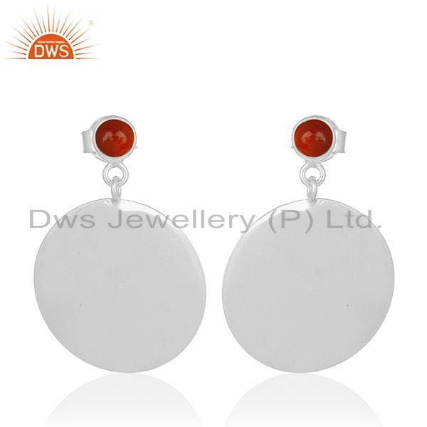 925 Sterling Silver Red Onyx Gemstone Designer Earrings Supplier from India