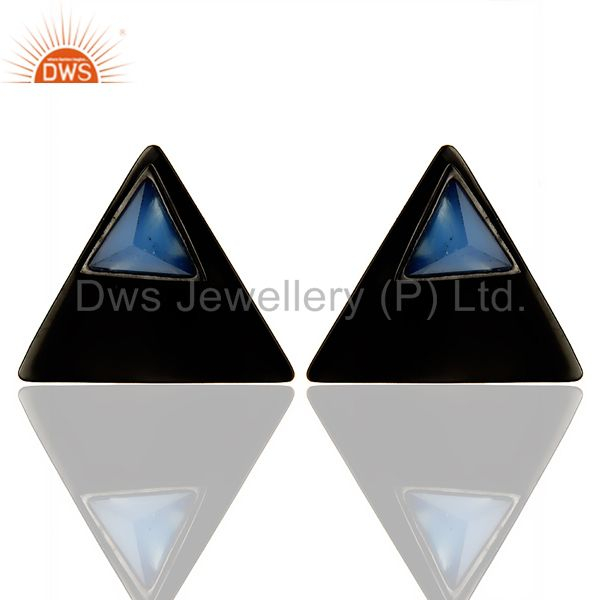 Black Oxidized 925 Sterling Silver Handmade Dyed Blue Chalcedony Studs Earrings