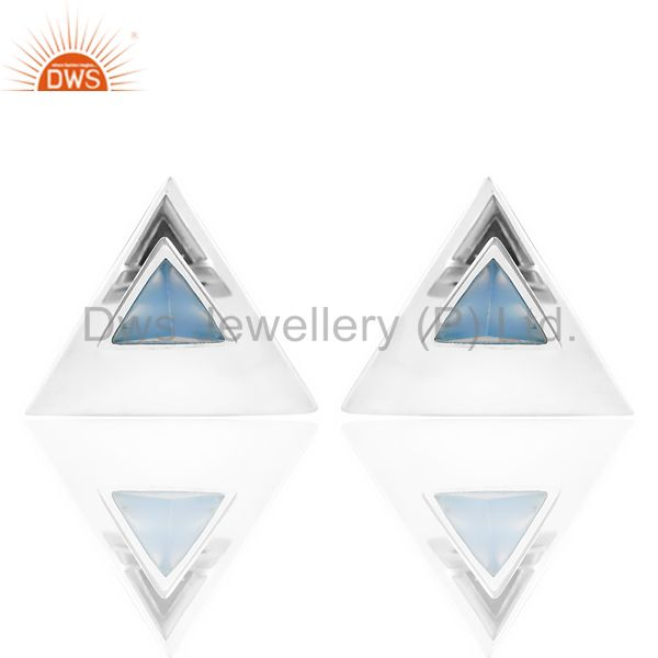 Blue Chalcedony Two Way Stud Triangle White Rhodium 92.5 Sterling Silver Earring
