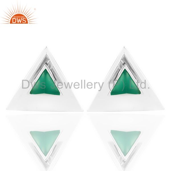 Green Onyx Two Way Stud Triangle White Rhodium 92.5 Sterling Silver Earring