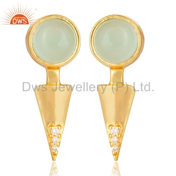 Aqua chalcedony studded Gold Plated Double Ear Jacket In 92.5 Sterling Silver