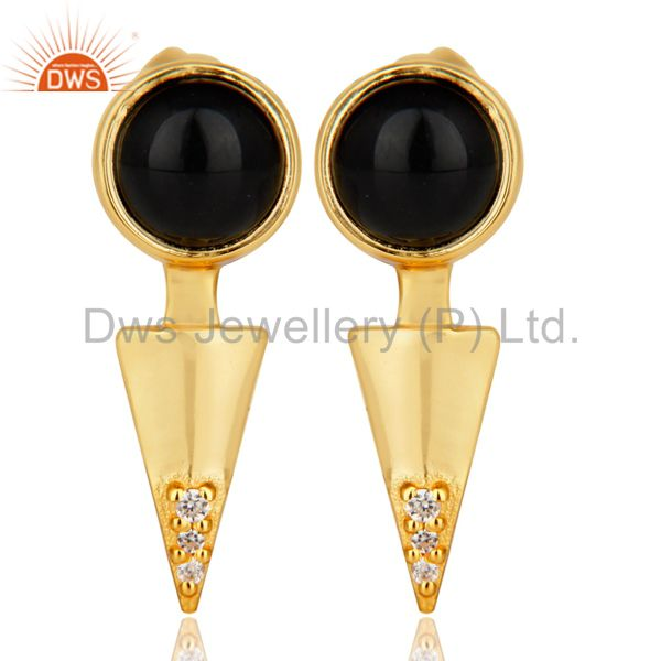 Black Onyx Studded Gold Plated Double Ear Jacket In 92.5 Sterling Silver