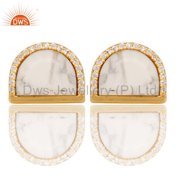 Howlite Half Moon Cz Stud Gold Plated 92.5 Sterling Silver Earring