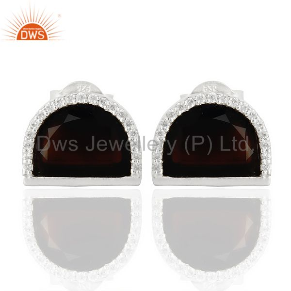 Black Onyx Half Moon Cz Stud 92.5 Sterling Silver Trendy Earring
