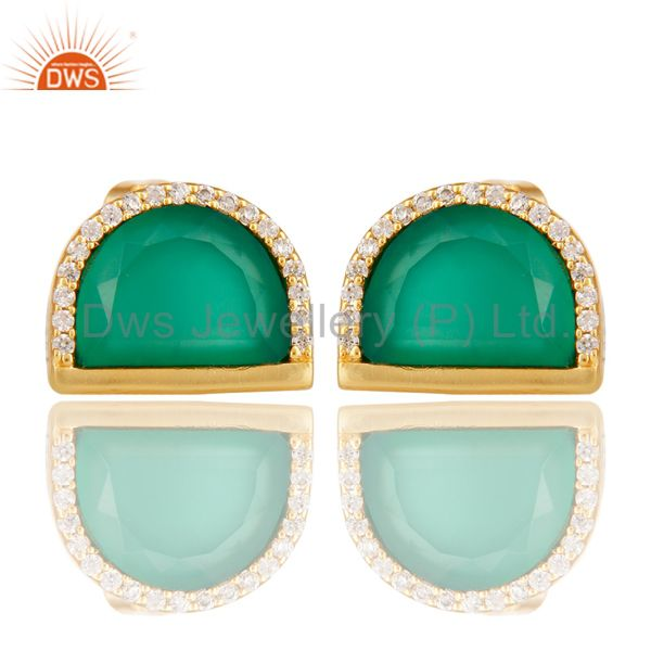 Green Onyx Half Moon Cz Stud Gold Plated 92.5 Sterling Silver Earring