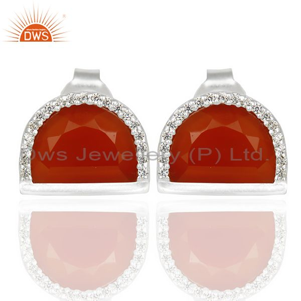 Red Onyx Half Moon Cz Stud 92.5 Sterling Silver Trendy Earring