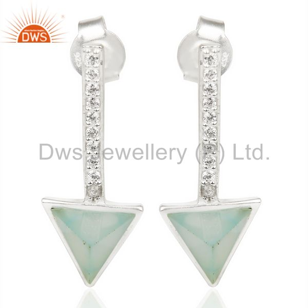 Aqua Chalcedony Triangle Cut Post 92.5 Sterling Silver Earring,Stud Long Earring
