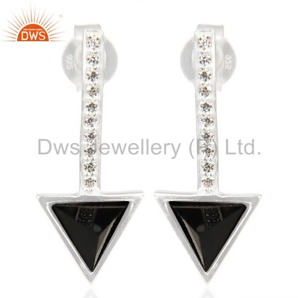 Black Onyx Triangle Cut Post 92.5 Sterling Silver Earring,Stud Long Earring