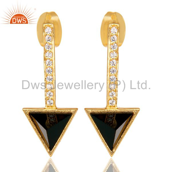 Black Onyx Triangle Post 14K Gold Plated 92.5 Sterling Silver Earring
