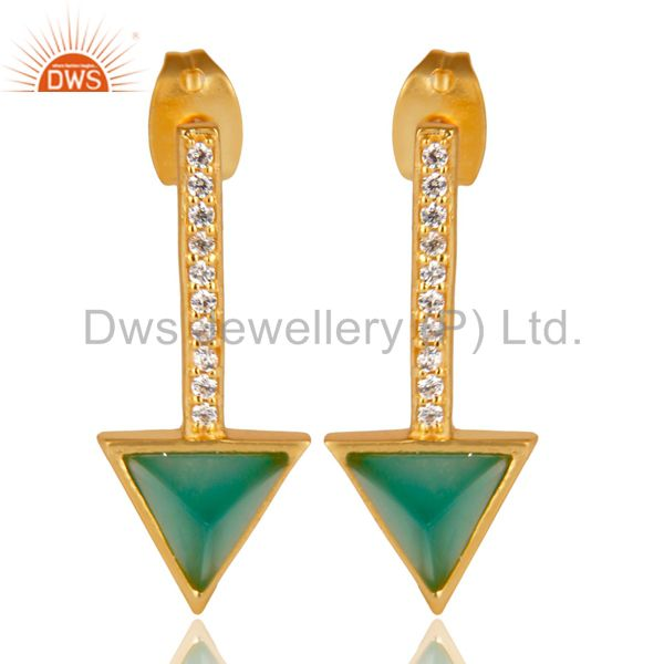 Green Onyx Triangle Post 14K Gold Plated 92.5 Sterling Silver Earring