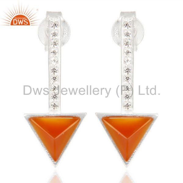 Red Onyx Triangle Cut Post 92.5 Sterling Silver Earring,Stud Long Earring