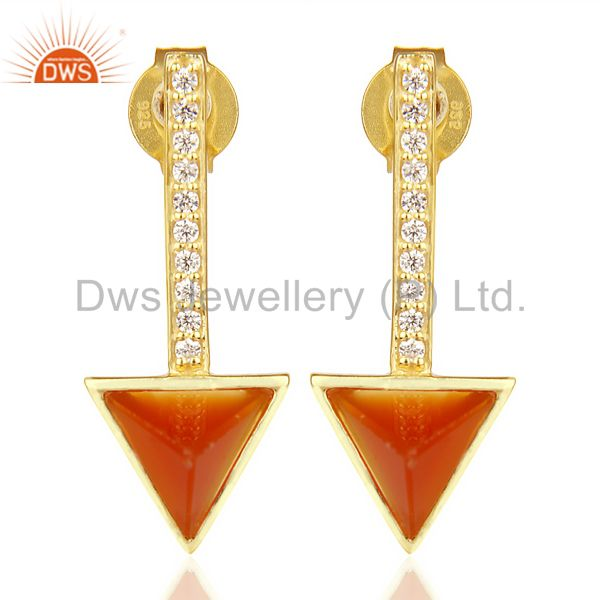 Red Onyx Triangle Post 14K Gold Plated 92.5 Sterling Silver Earring